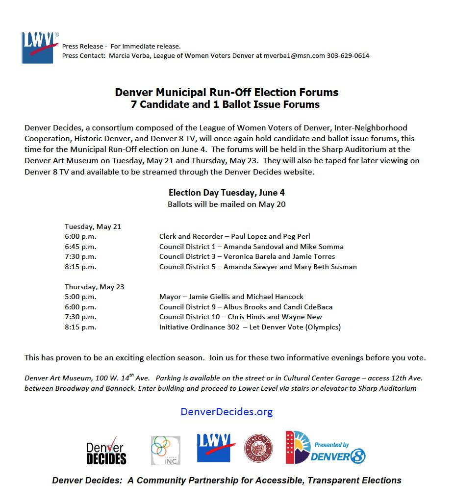 Denver Municipal Election Runoff Forums May 21 \u0026 May 23